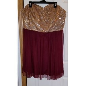 Burgundy Dress with Gold Sequin Bust